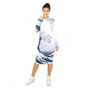 Sea Wave Printed Hoodie Dress
