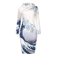Load image into Gallery viewer, Sea Wave Printed Hoodie Dress