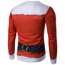 Load image into Gallery viewer, 3D Santa Print Crew Neck Long Sleeve T-Shirt