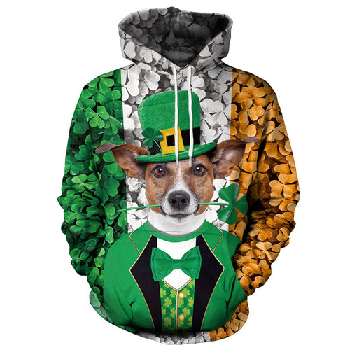 Saint Patrick's Shamrocks Day Dog Print Hoodie