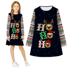 Load image into Gallery viewer, Girls Christmas Dress Print Casual Long Sleeve Dress