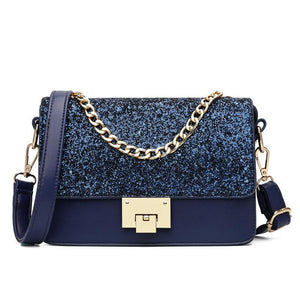 Women Sequins Handbag Top Chain Tote Multi Compartment Shoulder Crossbody Bag