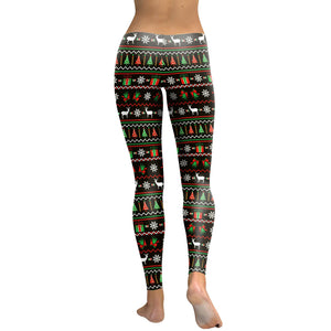 Sexy Christmas Tree Elk Print Leggings Yoga Sport Pants