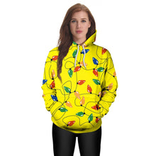 Load image into Gallery viewer, Christmas Lights Printed Hooded Christmas Sweatshirt