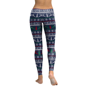 Christmas Snowflake Print Slim-fit Leggings