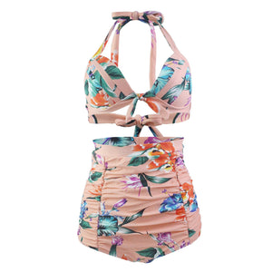 High Waisted Halter Floral Women Retro Plus Size Bikini Swimwear Bathing Suit