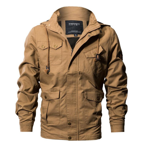 Plus Men's Winter Casual Thicken Multi-Pocket Outwear Jacket Coat with Removable Hood