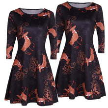 Load image into Gallery viewer, Christmas Cartoon Deer Print Dress
