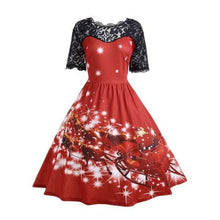 Load image into Gallery viewer, Lace Christmas Vintage Dress