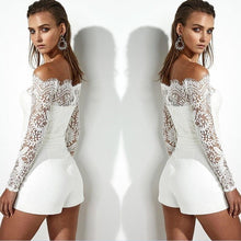 Load image into Gallery viewer, Women Lace Sleeve Playsuit Party Romper Short Trousers Pants Clubwear