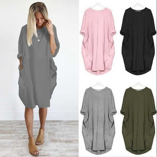 Women Solid Ruched Loose Long Sleeve Pocket Plus Size Summer Dress