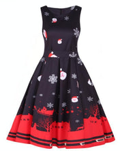 Load image into Gallery viewer, Santa Claus and Snowflake Print Dress