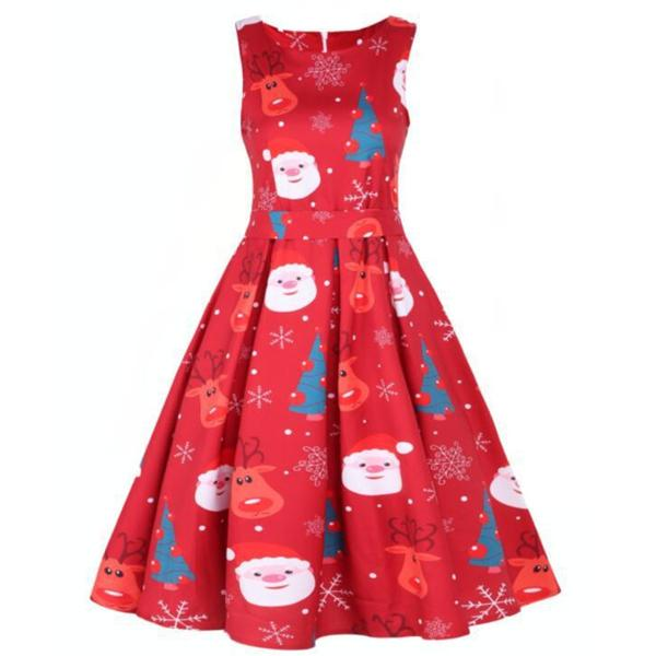Round Neck Sleeveless Christmas Dress