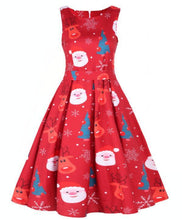 Load image into Gallery viewer, Round Neck Sleeveless Christmas Dress
