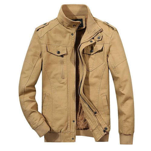 Men's Casual Lightweight Cotton Military Jackets Outdoor Full Zip Army Green Coat