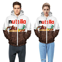 Load image into Gallery viewer, Chocolate Digital Printing Zipper Fleece Hooded Sweatshirt