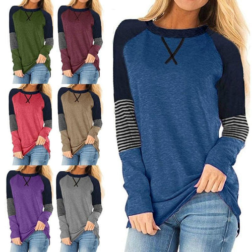 Women Stripe Printed Patchwork Long Sleeve Round Neck Casual Shirts Blouse Tops