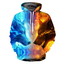 Load image into Gallery viewer, Ice Fire Double Wolf Head 3D Digital Printing Hooded Couple Hoodie