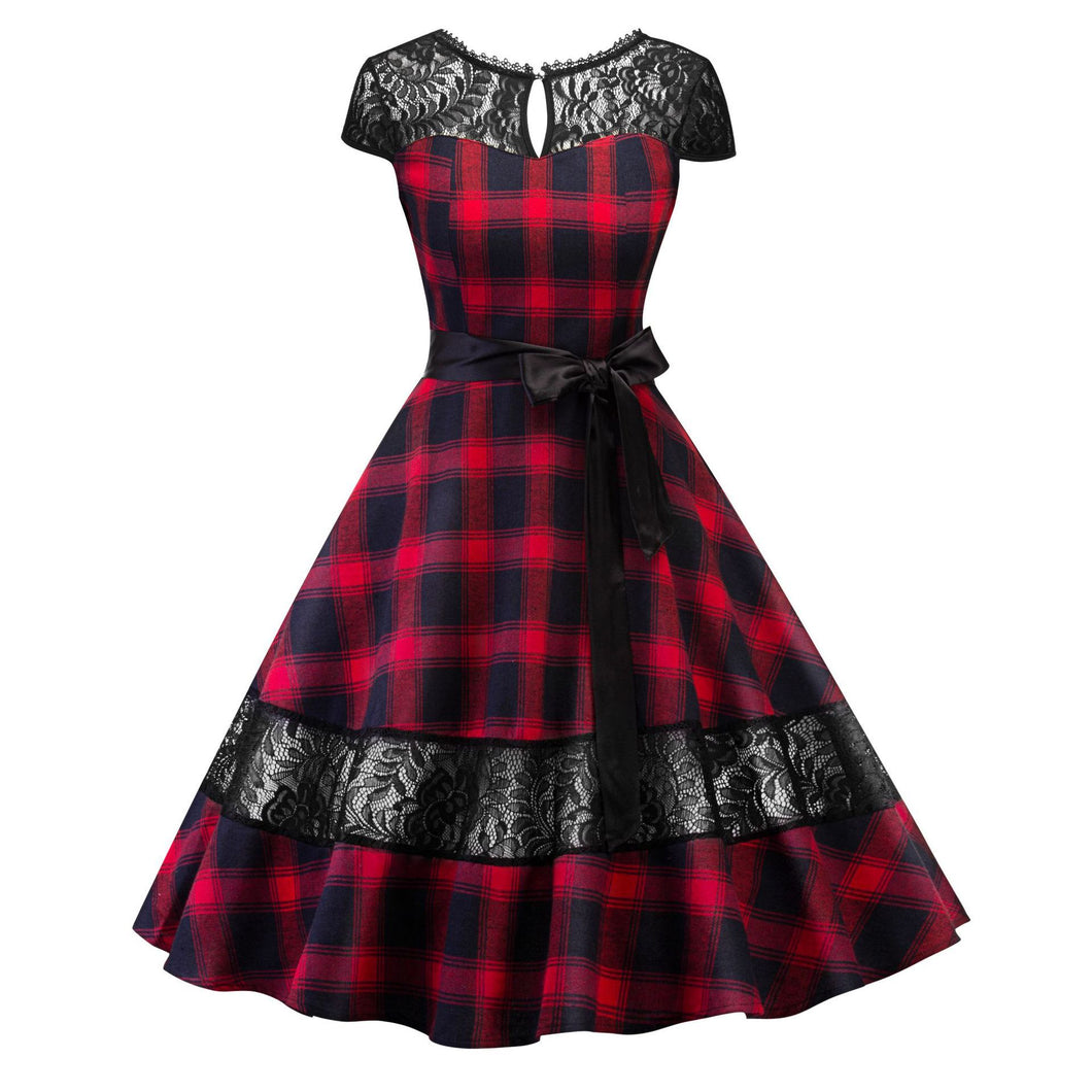 1950s Retro Plaid Lace Backless Big Swing Dress