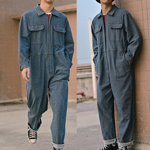 Men's Retro Loose Jacket One Piece Denim Jumpsuits Ripped Jeans Overall Coverall Workwear Pants