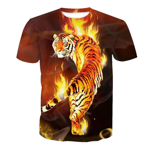 3D Fire Tiger Print Short Sleeve T-shirt