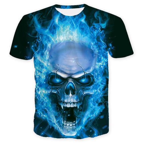 Men's Printed Skull Blue Eyes T-Shirts