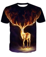 Load image into Gallery viewer, 3D Flame Elk Print Galaxy T-Shirt