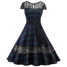 Load image into Gallery viewer, 1950s Retro Plaid Lace Backless Big Swing Dress