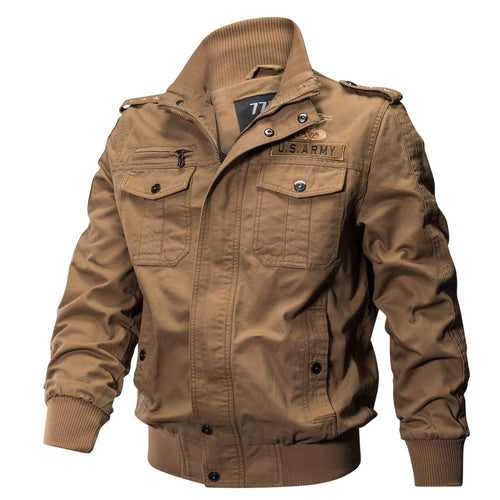 Men's Jacket-Casual Winter Cotton Military Multi-pocket Plus Size Big and Tall Jacket Coat