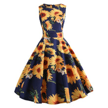 Load image into Gallery viewer, Women's 1950s Retro Vintage Cocktail Party Sun Flower Print Swing Dress
