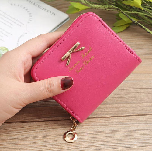 Women's Coin Bag Bow Coin Purse Zipper Wallet Purse Card Holder