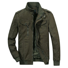 Load image into Gallery viewer, Men's Casual Lightweight Cotton Military Jackets Outdoor Full Zip Army Green Coat