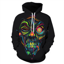 Load image into Gallery viewer, Halloween Skull Digital Print Long Sleeve Hoodie