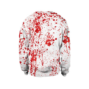 Halloween Blood Printed Collar Long Sleeve Sweatshirt