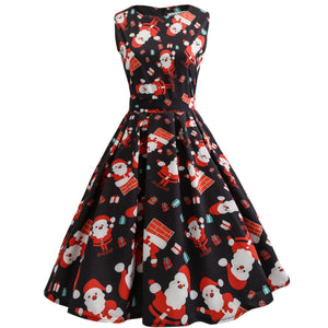 Christmas Santa Claus Print Sleeve Flare Vintage Dress