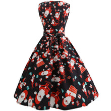 Load image into Gallery viewer, Christmas Santa Claus Print Sleeve Flare Vintage Dress