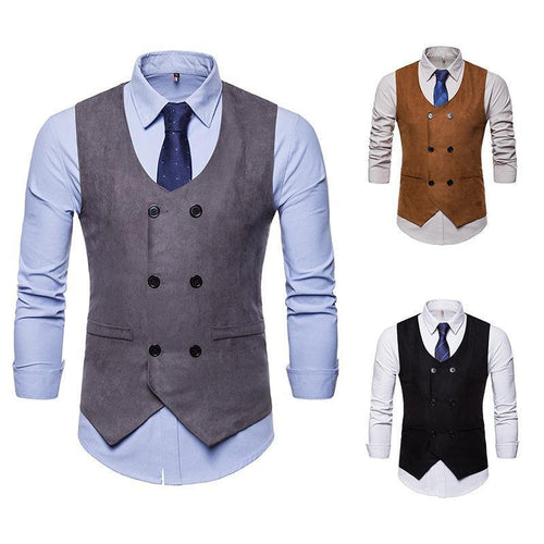 Men's Suede V-Neck Double-Breasted Suit Vest Waistcoat