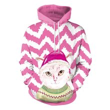 Load image into Gallery viewer, Christmas Cat Hat Print Hoodie