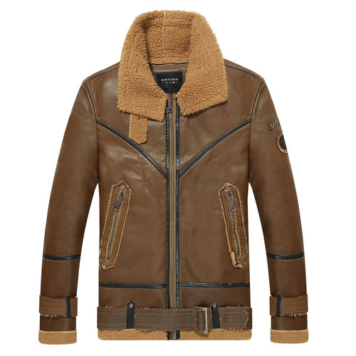Men's Winter Full Zipper Thick Sherpa Lined Faux Leather Jacket