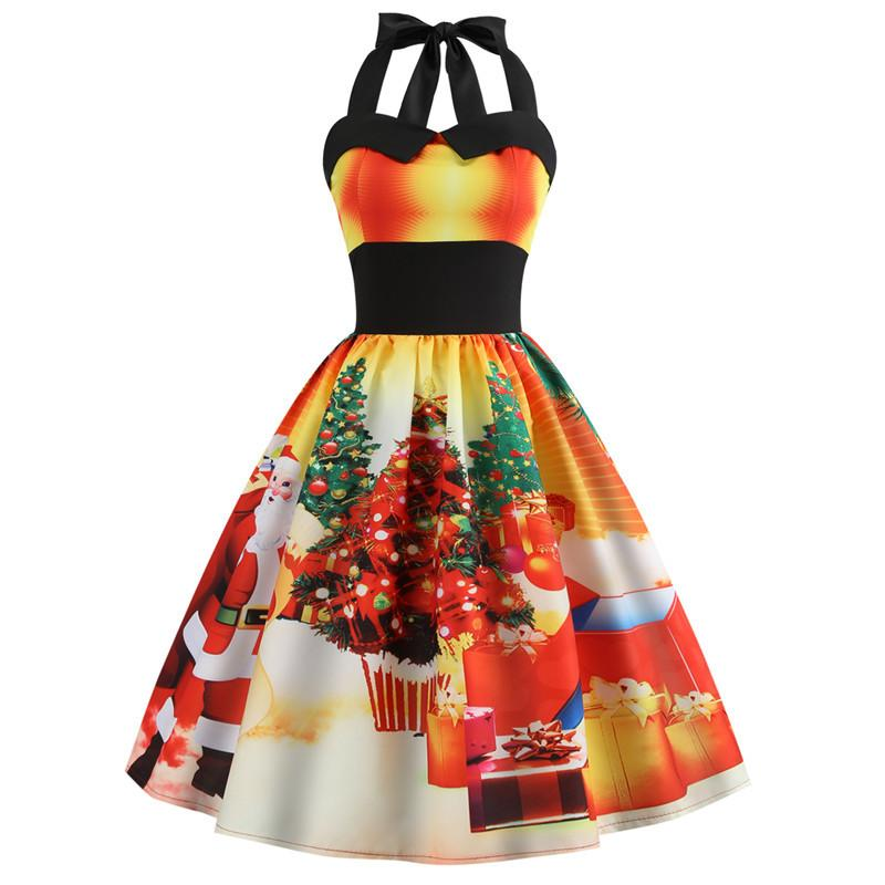 Christmas Print Halter Flare Vintage Dress
