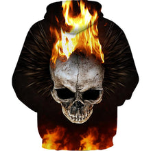Load image into Gallery viewer, 3D Flame Skull Printed Pullover Hoodie Sweatshirt