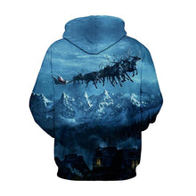 Load image into Gallery viewer, Night Sky Elk Printed Hooded Xmas Sweatshirt