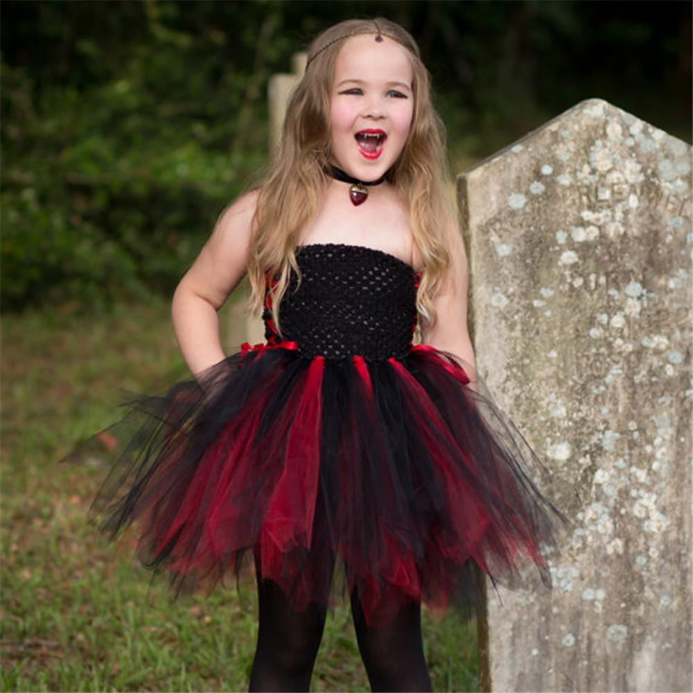 Girls Halloween Vampire Cosplay Costume Children's Dresses Handmade Mesh Lace Princess Dress Kids Dress