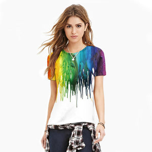 3D Color Splash Printed Casual Short Sleeve T-shirt