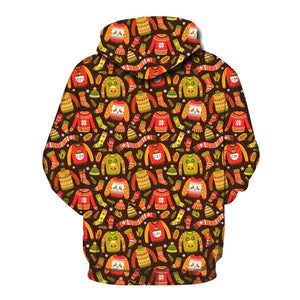 Christmas Printed Loose Xmas Hooded Sweatshirt