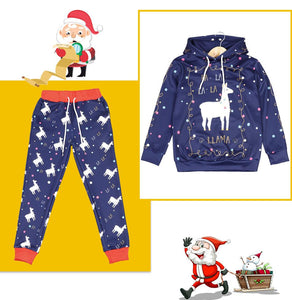 Christmas Cartoon 3D Printed Children's Long Sleeve Hooded Two-piece