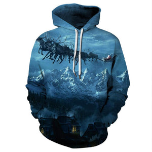 Night Sky Elk Printed Hooded Xmas Sweatshirt