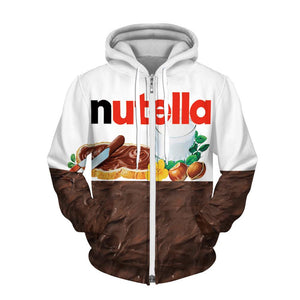 Chocolate Digital Printing Zipper Fleece Hooded Sweatshirt