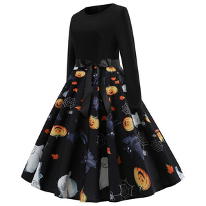 Halloween Pumpkin Print Flare Dress