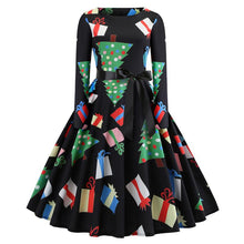 Load image into Gallery viewer, Christmas Print Long Sleeve Flare Midi Dress